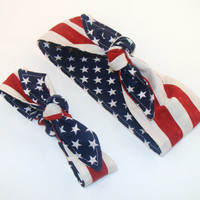 American Flag Mommy and Me Matching Rockabilly Headscarf Pinup Women Baby Headband Hair Accessory