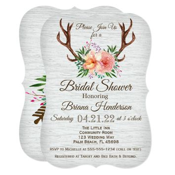 Country Floral Antlers Bridal Shower Invitation
