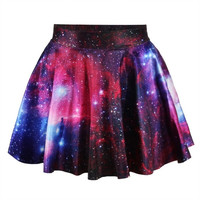 Galaxy Purple Skater Skirt- Stars-Nebula-Skrit Shiny -Galaxy Clothing  Circle Skirt = 1946709572