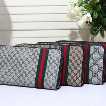 Gucci Long leather fashion Zipper Wallet [305772232733]