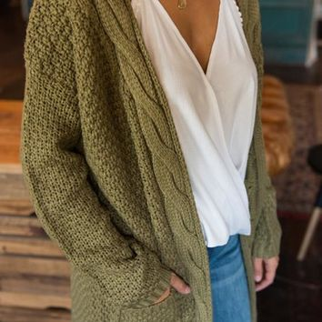 Army Green Pockets Long Sleeve Casual Acrylic Cardigan Sweater