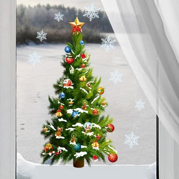 Removable Christmas Tree snowflake star sticker wall decal window mural decal home decor xmas decoration kids gift wallpaper