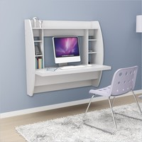Floating Desk with Storage in White - WEHW-0200-1
