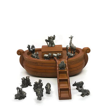 Vintage Hudson Retired Pewter Noah's Ark Includes Ark 14 Animals, Noah