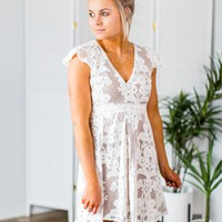 Floral Lace Dress-Off White