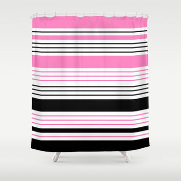 Pink and Black Stripes Shower Curtain by Kat Mun
