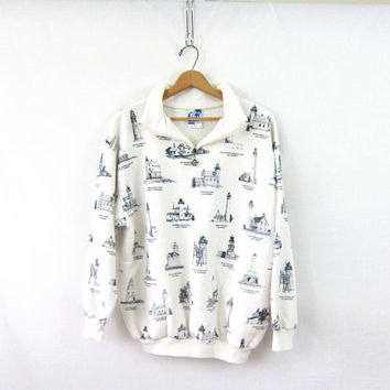 vintage lighthouse sweatshirt jacket. white and blue fleece blanket coat sweater jacket. size XL