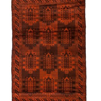 4x6 Overdyed Vintage Tribal Burnt Orange Rug 2513