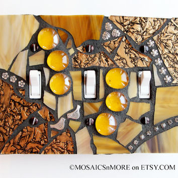 Golden Glamour - Handmade triple Mosaic Light Switch Cover Wall Plate