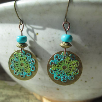 Patina Earrings Filigree Earrings Boho Earrings Turquoise Earrings Dangle Earrings Jewelry Brass Earrings Small Earrings