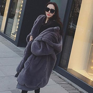 Thick Hooded Faux Fur Over Coat
