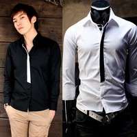 Korean Men's Casual Button Down Long Sleeve T-shirts Vogue Tops Fitted Tees XS-L