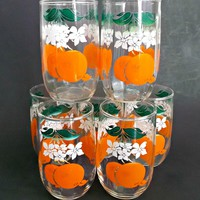 Set of Six Vintage Mid Century Orange Juice Tumblers Glasses Breakfast