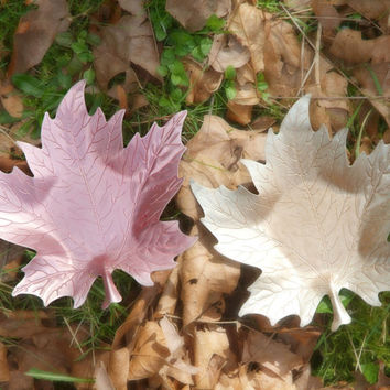 Vintage Aluminum Coasters, Trinket Dish, Leaf Motif, Colored Aluminum, Shabby Decor, Aluminum Leaf