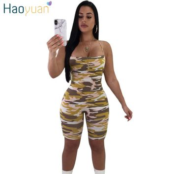 HAOYUAN Plus Size Camouflage Print Rompers Womens Jumpsuit Casual Summer Overalls Bodycon Shorts Bodysuit Camo Sexy Playsuits