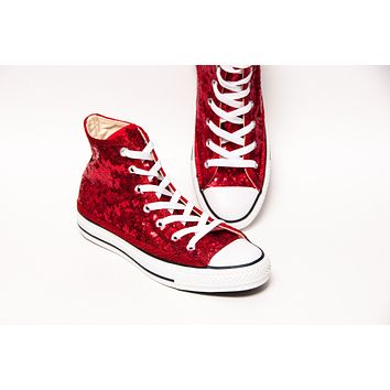 Red Starlight Sequin High Tops with Red Accents