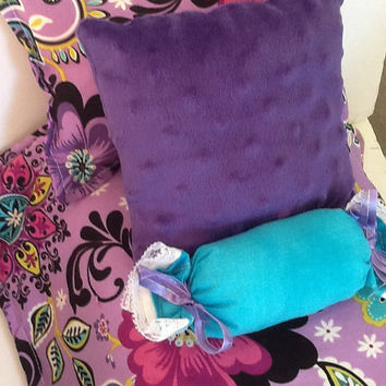 "Doll Bedding, purple with flowers, reverse in chevron  for 18"" doll, cotton comforter, bed pillow, teal bolster, purple plush pillow"
