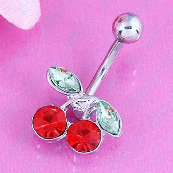 2016 New Pretty Rhinestone Red Cherry belly Navel ring Belly Button Barbell Ring Body Piercing Nickel-free Free shipping