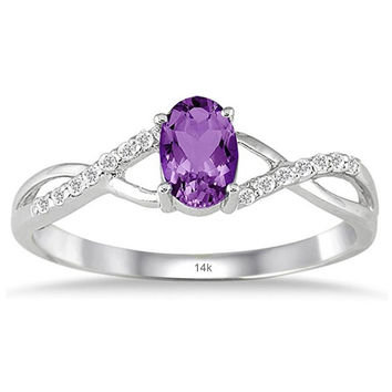 Amethyst and Diamond Twist Ring in 10K White Gold