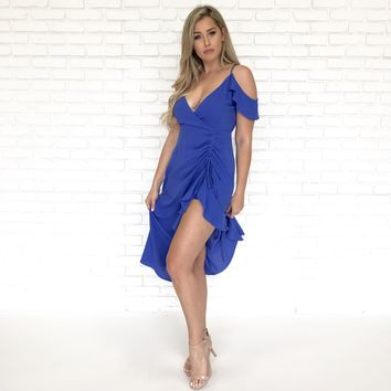 Topanga Royal Blue Ruffled Midi Dress