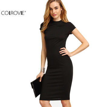 COLROVIE Women's Work Wear Sheath Dresses Sexy Newest Solid Black Cap Sleeve Crew Neck Knee Length Bodycon Dress
