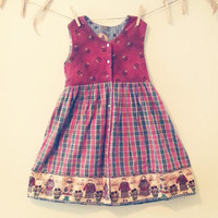 Country Cottage Reversible Smock Dress, children's vintage dress, gift for her, clothing for children, 4 to 6 year old, girls summer dress
