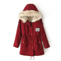 Winter Women Coat Fur Hooded Zipper Embellished Women Parka