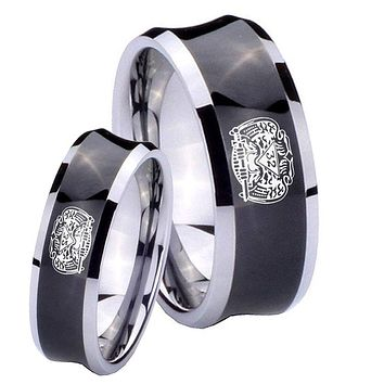 Bride and Groom Masonic 32 Degree Freemason Concave Black Tungsten Carbide Bands Ring Set