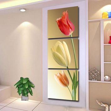 Canvas HD Prints Modular Pictures Home Decor 3 Pieces Color Elegant Tulips Paintings Wall Art For Living Room Flowers Poster