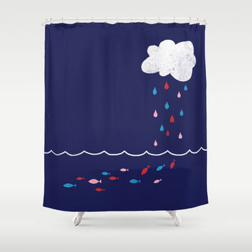 Droplets Shower Curtain by Jenny Tiffany