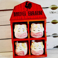 Set of Cow Coffee Mugs with Red Wood Barn , Farm house Decor , Contains 8 Oz