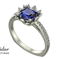 Flower Engagement Ring,Unique Engagement Ring,diamond Engagement Ring,cushion,Blue Sapphire Engagement Ring,lotus,floral,rose gold Ring