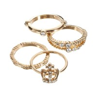 Juicy Couture Crown Stack Ring Set (Yellow)