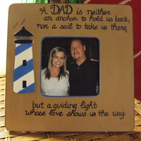Picture frames Gift for Dad Father's Day gift Daddy from son from daughter light house frame personalized gift father quote frame brown blue