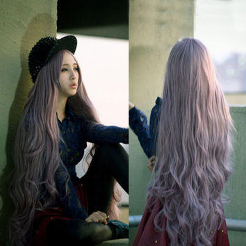 100cm Long Women's Curly Wavy Hair Full Wigs For Cosplay Party Lolita Anime Wig