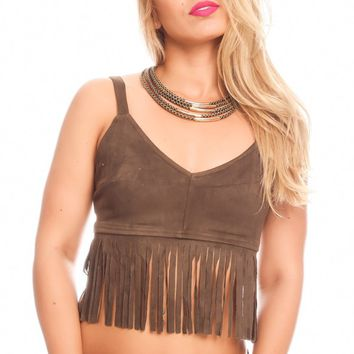 OLIVE SLEEVELESS SCOOP NECKLINE SUEDE FEEL MATERIAL BOTTOM FRINGE ACCENT CASUAL CROP TOP