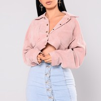 Analia Cropped Jacket - Dark Pink