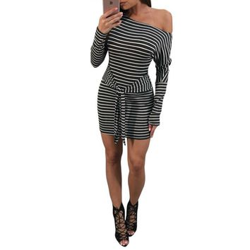 2019 Sexy Women Striped Dress One Shoulder Waist Strap Knot Long Sleeve Slim Bodycon Ladies Mini Dress Party Vestidos