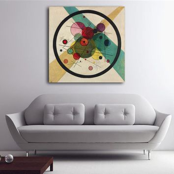 WASSILY KANDINSKY Circle in a Circle Wall Painting picture leaf Home Decorative Art Picture Paint on Canvas