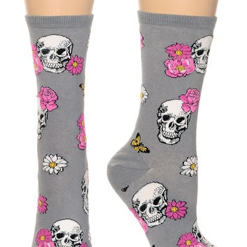 In Bloom Skulls & Roses Socks in Phantom Gray