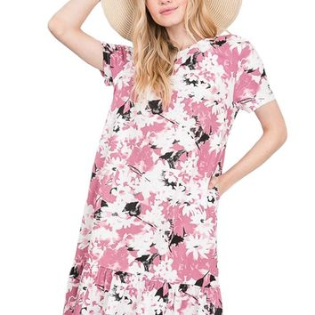 Floral-Print Ruffle Bottom Dress