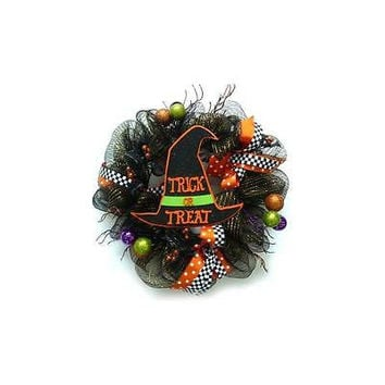 Unbranded Mesh Ribbon Halloween Wreath With Hat
