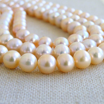 Freshwater Pearl Gemstone Pastel Peach Champagne Roundish Oval 7mm Full Strand 60 beads High end Deluxe pearls