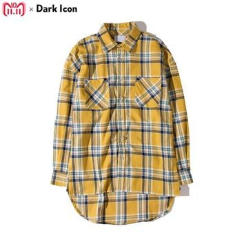 DARK ICON Flannel Plaid Shirt Men Hip-hop Shirt 2018 Streetwear Oversized Curved Hem Hipster Men's Shirt Long Sleeve 2 Yellow