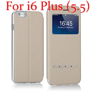 Smart Window Leather Case For iPhone 6  With Stand Cover
