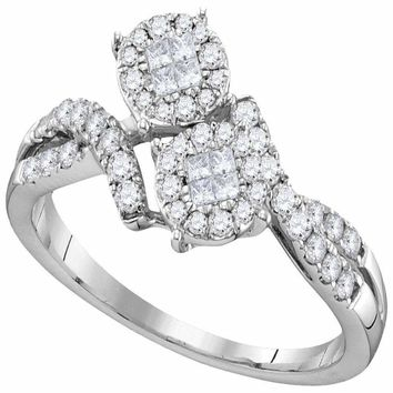 14kt White Gold Women's Princess Round Diamond Soleil Cluster Bypass Bridal Wedding Engagement Ring 1/2 Cttw - FREE Shipping (US/CAN)