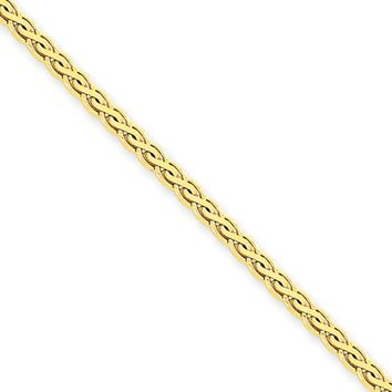 3mm, 14k Yellow Gold, Flat Wheat Chain Necklace, 24 Inch