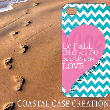 Apple iPhone 4 4G 4S 5G Hard Plastic Cell Phone Case Cover Original Pink Heart Turquoise Chevron Bible 1 Corinthians 16:14 Quote Design