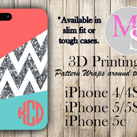 Monogram iPhone Case Personalized Phone Case Glitter Chevron Monogrammed iPhone 4 Iphone 4S, Iphone 5C, iPhone 5S, iPhone 5 Tough Case #2154