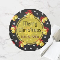 Jingle bell and stars Christmas black monogram Cake Stand